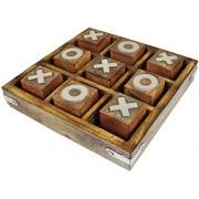 Tic tac toe juego de juguete de madera y juego - nadas y cruces juego - tablero de juego del recorrido del sistema -12.7 x 12,7 x 2,5 cm