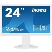 Monitor iiyama B2480HS-W2, 24'', LCD, 2ms, 250cd/m2, 1000:1, FullHD, VGA, DVI, HDMI, repro, pivot, výšk.nastav., biely