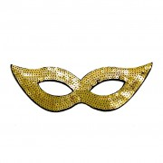 Gold Sequined Masquerade Mask With Cat Eyes