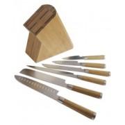 Комплект кухненски ножове и дървен блок Fissler Nippon 6 части