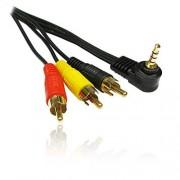 CDL Micro 3 m chapado en oro ángulo recto de 3,5 mm Jack Plug a 3 x RCA/RCA Plug Cable de vídeo para Videocámara