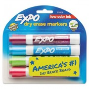 Low Odor Dry Erase Marker, Chisel Tip, Classic Colors Assorted, 4/set