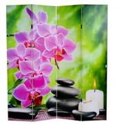 Biombo LED estilo FLORES, 180x160x2,5cm, estructura de madera de haya con tapizado de tela en poliester