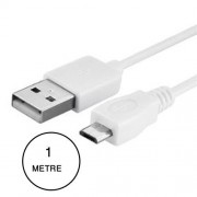 Alcatel One Touch Idol 2 Mini S Câble Data Micro Usb Blanc 1 Mètre Pour Charge, Synchronisation Et Transfert De Données.