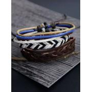 Zaful Jeu de bracelets en faux cuir et ficelles tressés