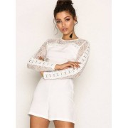 New Look Lace Insert Long Sleeve Playsuit Playsuits White