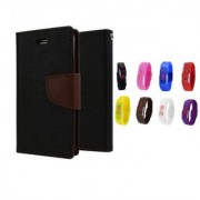 Samsung Galaxy Grand Prime G530 Wallet Diary Flip Case Cover Brown With Free Digital Watch