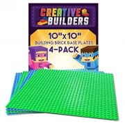 "Creative Builders 4 Pack Green + Blue Variety Pack Base Plates | Large 10"" X 10"" 