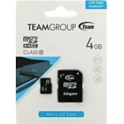 Card de Memorie Team Group microSDHC 4GB Clasa 10 + Adaptor SD