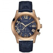 GUESS Blue Leather Round Dial Quartz Watch For Men (W0669G2)