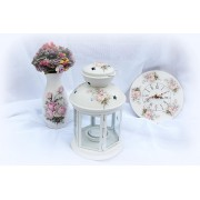 Felinar alb din metal pentru lumanare pastila - Romantic Roses - 8557