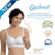 Carriwell - Безшевен сутиен за кърмене от органичен памук - бял