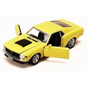 1970 Ford Mustang Boss 429, Yellow - Motormax 73303 - 1/24 scale Diecast Model Toy Car