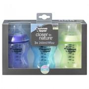 Tommee Tippee biberoane colorate pentru baieti 3 x 260ml 0+ luni