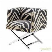 Fotoliu elegant asemanator cu un scaun regizoral, Dawson zebra 110198 HZ