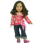18 Inch Doll Clothing Print Doll Tunic & Crop Doll Jeans w/ Sash Belt Set Fits American Girl Dolls & More! Doll Clothes Outfit of Tunic & Doll Jeans with Sash