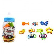 Ver-Baby 10-Piece Baby Bottle Soothing Teething Ring And Rattle Set