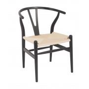 Replica Hans Wegner Wishbone Chair - Black Frame (grain visible) Natural seat - Ash Timber