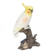 Estátua Pássaro Galho M Branco e Amarelo Greenway