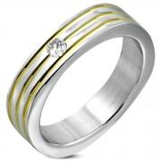 Arany és ezüst színű nemesacél gyűrű cirkónia kristállyal