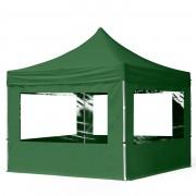 Intent24 3x3m Tente pliante avec côtés (dont 4 panoramiques), ECONOMY Alu, vert foncé