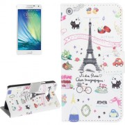 Eiffel Tower Pattern Horizontal Flip Magnetic Buckle Leather Case with Card Slots & Wallet & Holder for Samsung Galaxy A5 / A500