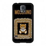 Beautiful Designed Bear Back Black Shell Moschino Phone Custodia Cover for Samsung Galaxy S5,Customized Easy Set Phone Custodia Cover