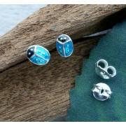 oorstekers lieveheersbeestjes zilver blauw