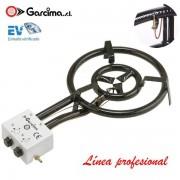 Paellero profesional de gas con termopar de Garcima 40 cm / 2 fuegos, Gas butano/propano