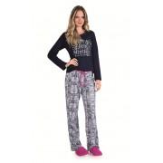 Pijama Feminino Adulto Longo Lua Encantada Caça Palavras