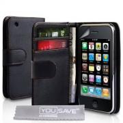 Yousave Accessories® Yousave Accessories AP-GA01-Z498 Funda de cuero, protector de pantalla y paño limpiador de microfibra para iPhone 3, 3G, 3GS, color negro