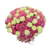 Воздушная фантазия - 101 белая и розовая розы