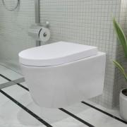 vidaXL Sanitário de cerâmica suspenso branco + autoclismo encastrar