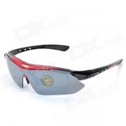 Deportes OBAOLAY lente PC gafas de sol con lentes intercambiables - Negro +