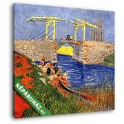 Vincent Van Gogh: Az arles-i Langlois-híd mosónőkkel (30x25 cm, Vászonkép )