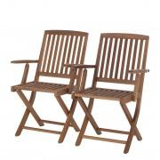 Tuinklapstoelen Teak Line Liviko (2-delige set) - hout bruin, Ars Natura