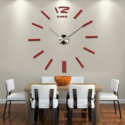 home decor quartz diy wall clock clocks horloge watch living room metal Acrylic mirror 20 inch (?Red color)