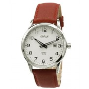 Claudio Calli Herren Armbanduhr CAL.7370.702 von Edelstahl mit rot Lederarmband