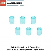 Lego Parts: Brick Round 1 x 1 Open Stud (PACK of 6 - Transparent Light Blue)
