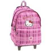 Ghiozdan cu rotile Hello Kitty roz