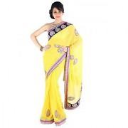 Suchi Fashion Yellow Booti Work and Heavy Velvet and Stone Work Border Chiffon Designer Saree