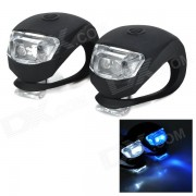 Antideslizante de 2 LED Blanco / Front + Lamparas posterior de la bici azul w / funda de silicona - Negro (2 PCS)
