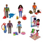 Fisher Price Loving Family African American Figures & Accessories: Grandpa, Grandma, Dad, Mom, Brother, Sister And Toddler