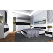 Spálňa biela/čierne sklo s leskom, DEVON