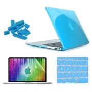 ENKAY 4 in 1 Crystal Hard Shell Plastic Protective Case with Screen Protector & Keyboard Guard & Anti-dust Plugs for MacBook Air 11.6 inch(Blue)