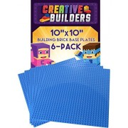 Creative Builders Our Best 6 Pack Blue BasePlates Extra Large 10X10 inch LEGO compatible
