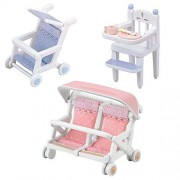 Sylvanian Families - Two Baby Carriage (Single, Double) and High Chair Sets