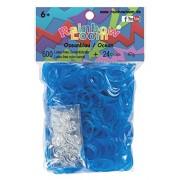 Rainbow Loom Latex-freie Gummibänder Ozeanblau Jelly Inh.: 600 Bänder 100 % Silikon + 24 C-Clips