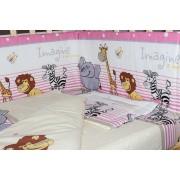 Lenjerie patut, 5 piese, Safari roz, 120 x 60
