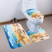 rosegal Beach Starfish Conch Pattern 3 Pcs Bath Mat Toilet Mat